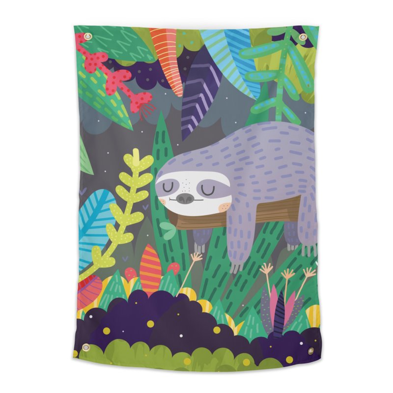 Sloth in nature Home Tapestry by Maria Jose Da Luz