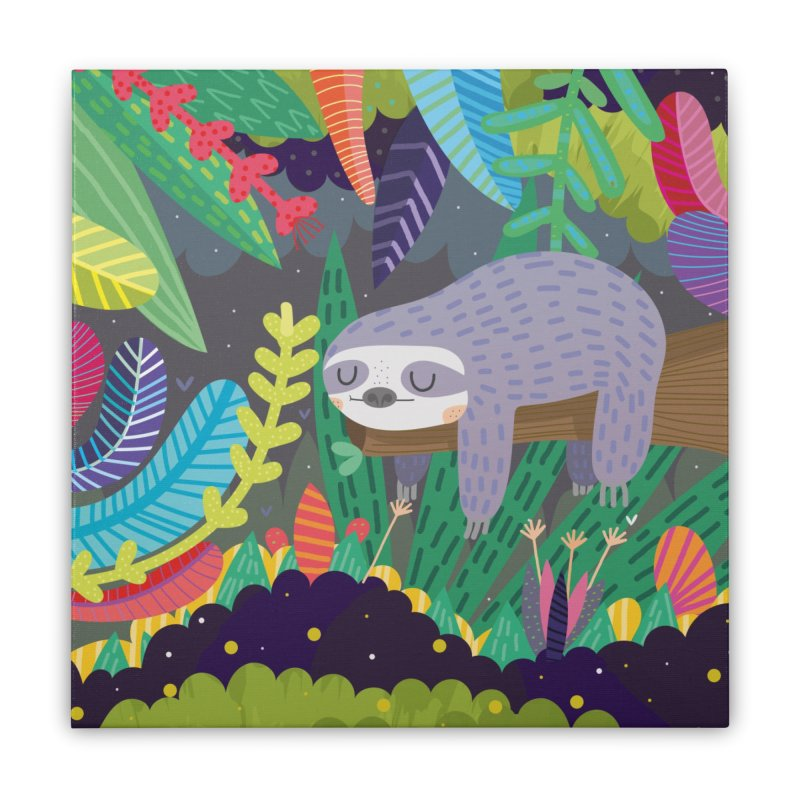 Sloth in nature Home Stretched Canvas by Maria Jose Da Luz