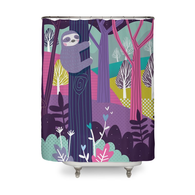 Sloth in the woods Home Shower Curtain by Maria Jose Da Luz