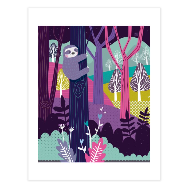 Sloth in the woods Home Fine Art Print by Maria Jose Da Luz