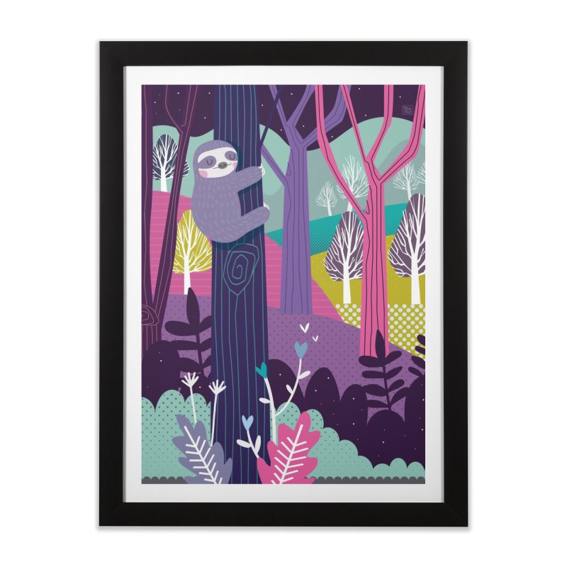Sloth in the woods Home Framed Fine Art Print by Maria Jose Da Luz
