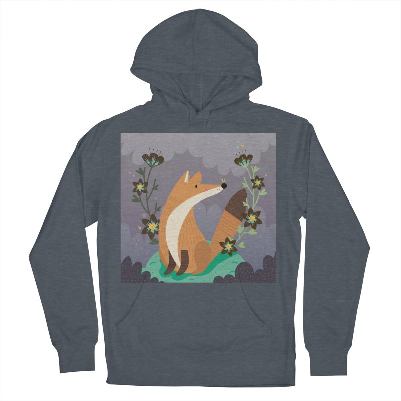 Fox and flowers Women's Pullover Hoody by Maria Jose Da Luz