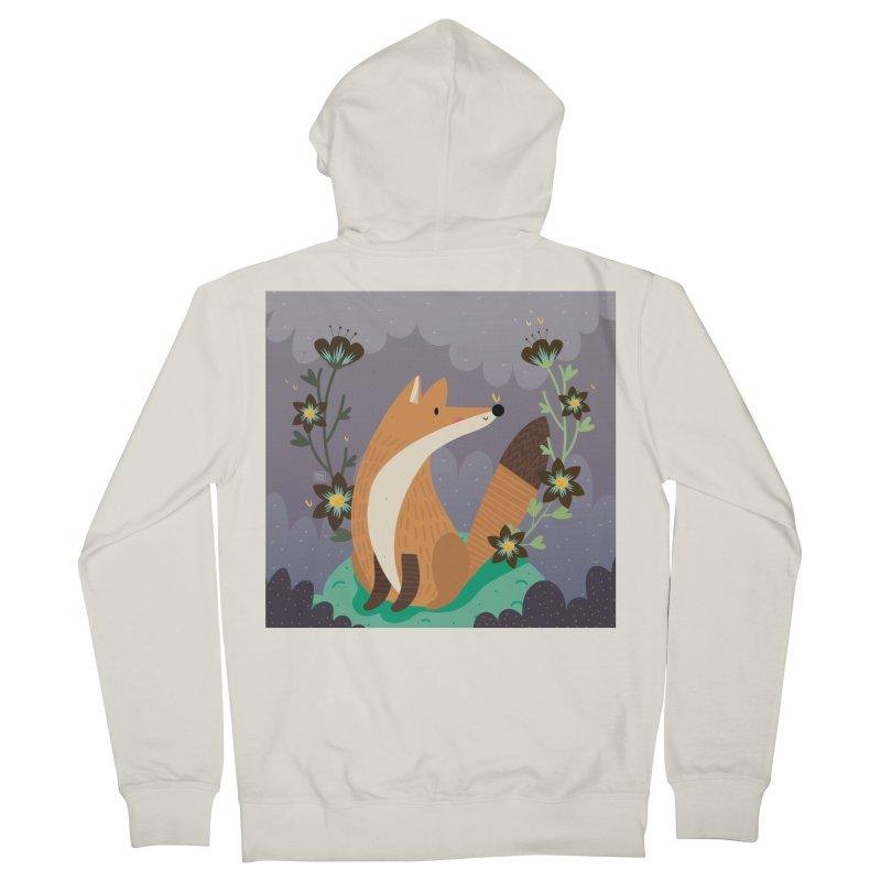 Fox and flowers Women's Zip-Up Hoody by Maria Jose Da Luz