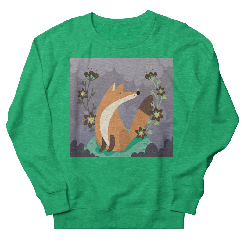 Fox and flowers Women's Sweatshirt by Maria Jose Da Luz