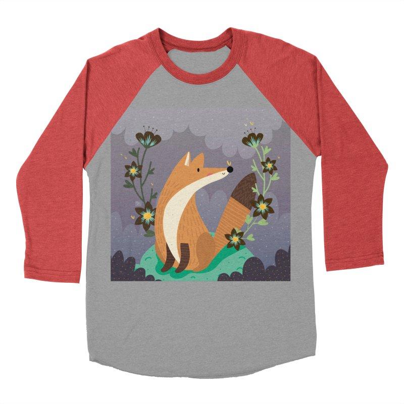Fox and flowers Women's Baseball Triblend T-Shirt by Maria Jose Da Luz