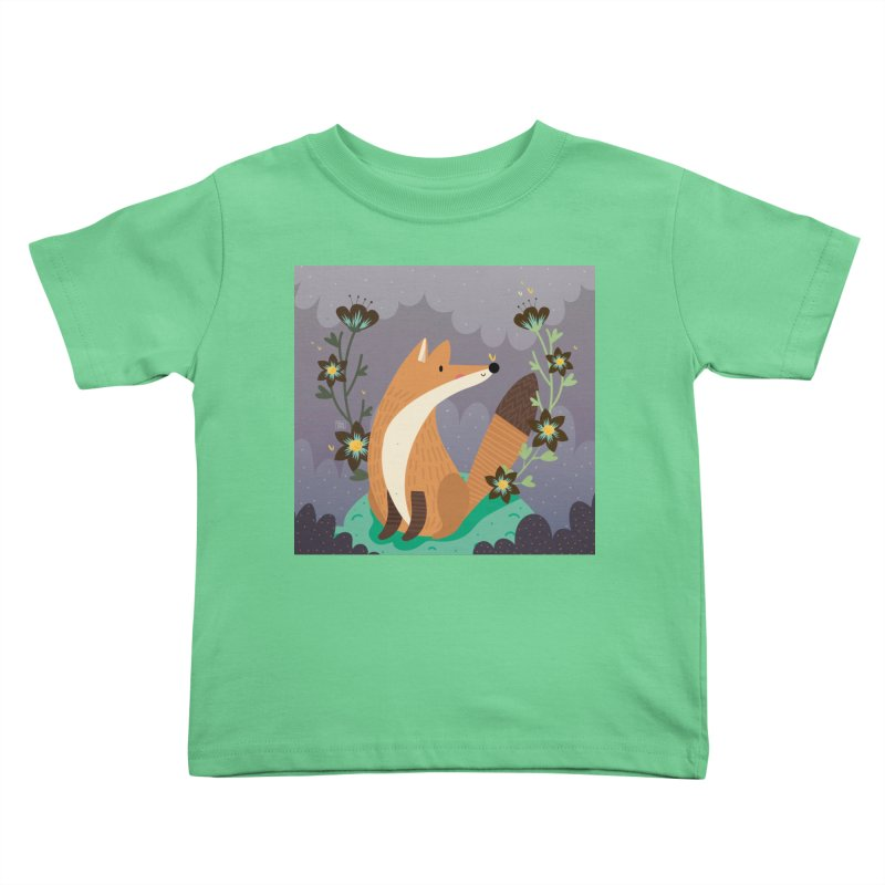 Fox and flowers Kids Toddler T-Shirt by Maria Jose Da Luz