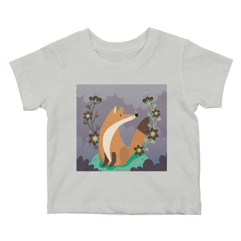 Fox and flowers Kids Baby T-Shirt by Maria Jose Da Luz