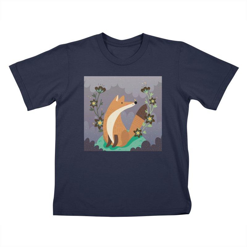 Fox and flowers Kids T-shirt by Maria Jose Da Luz