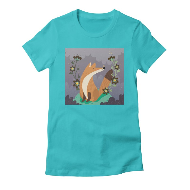 Fox and flowers Women's Fitted T-Shirt by Maria Jose Da Luz