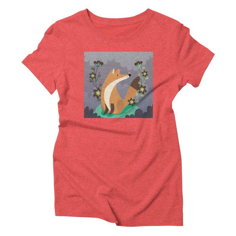 Fox and flowers Women's Triblend T-shirt by Maria Jose Da Luz