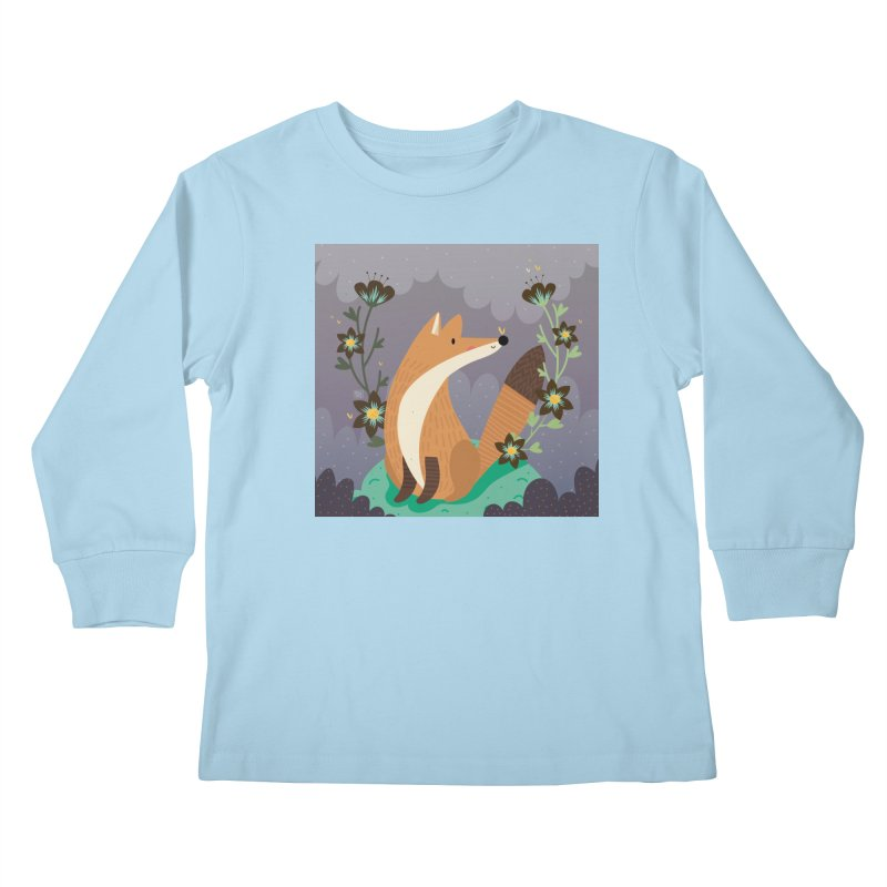 Fox and flowers Kids Longsleeve T-Shirt by Maria Jose Da Luz