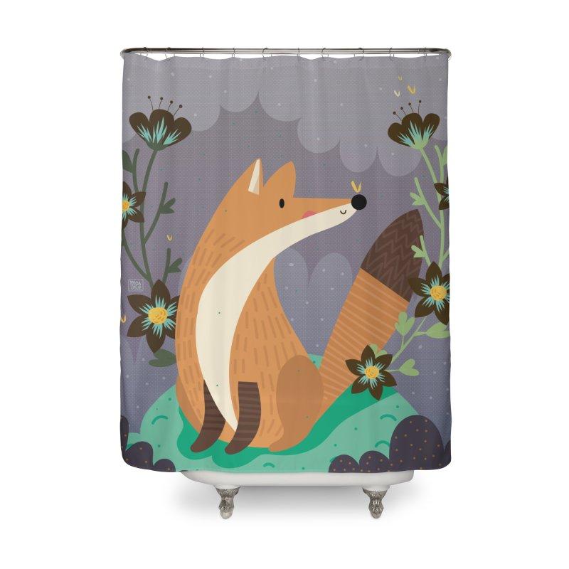 Fox and flowers Home Shower Curtain by Maria Jose Da Luz