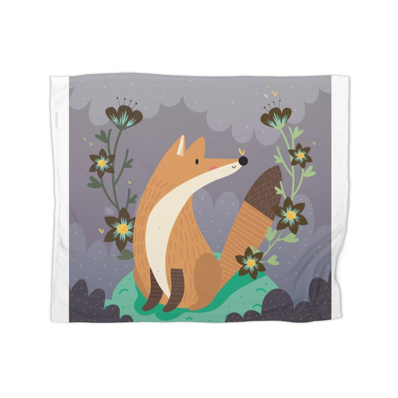Fox and flowers Home Blanket by Maria Jose Da Luz
