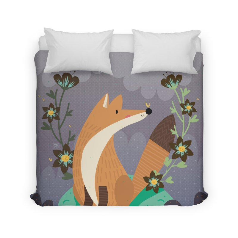 Fox and flowers Home Duvet by Maria Jose Da Luz
