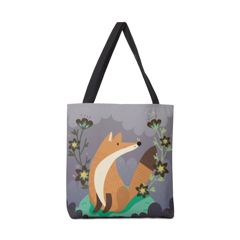 Fox and flowers Accessories Bag by Maria Jose Da Luz