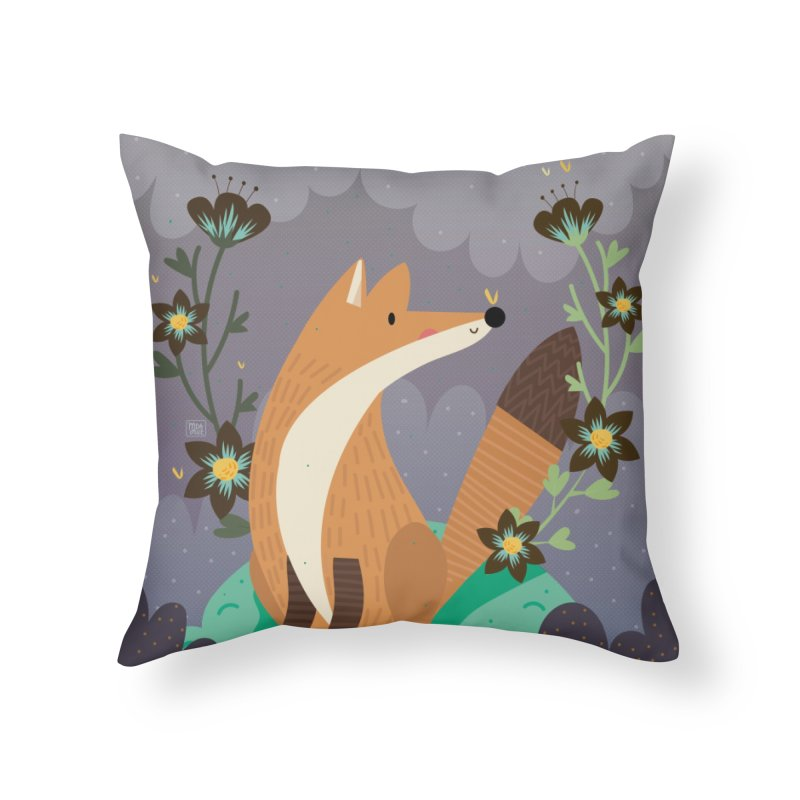 Fox and flowers Home Throw Pillow by Maria Jose Da Luz