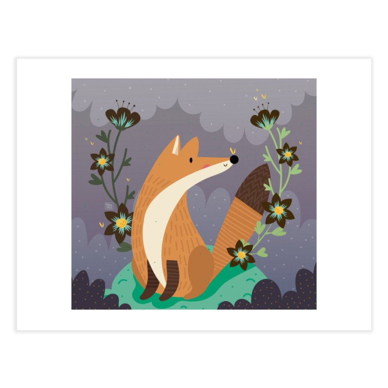 Fox and flowers Home Fine Art Print by Maria Jose Da Luz