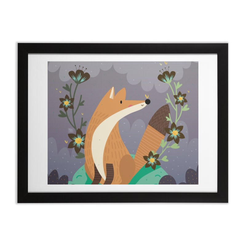 Fox and flowers Home Framed Fine Art Print by Maria Jose Da Luz