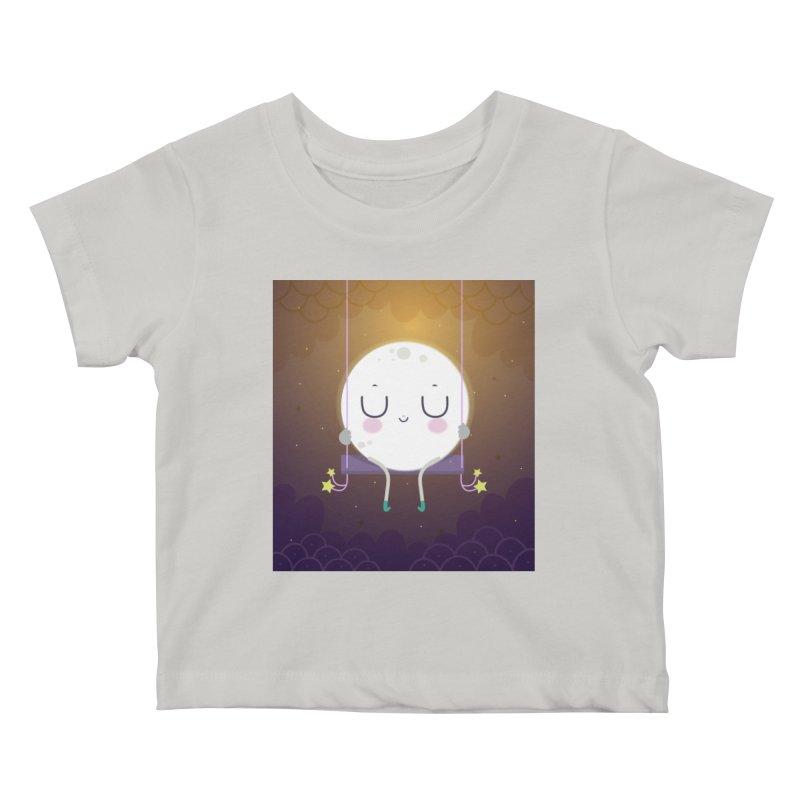 Little moon Kids Baby T-Shirt by Maria Jose Da Luz