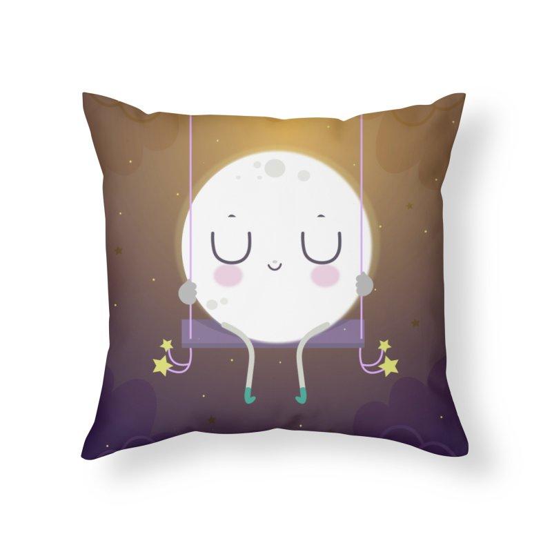 Little moon Home Throw Pillow by Maria Jose Da Luz