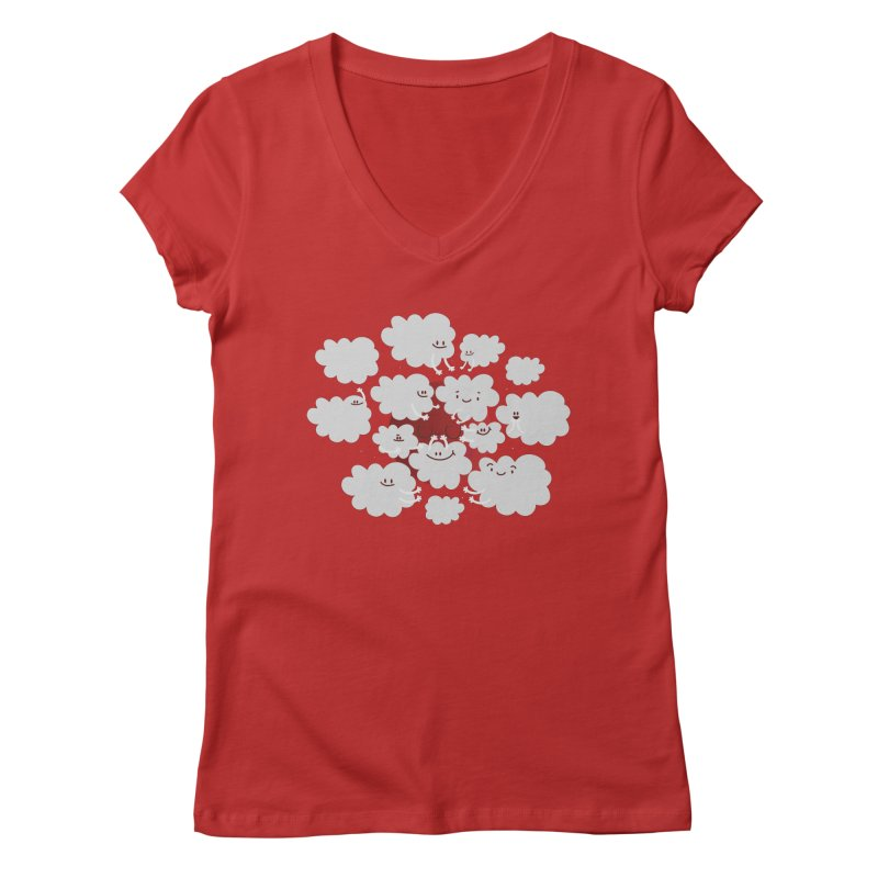 Red Moon Women's V-Neck by Maria Jose Da Luz