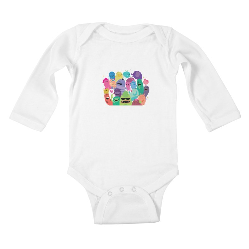 Monster reunion Kids Baby Longsleeve Bodysuit by Maria Jose Da Luz
