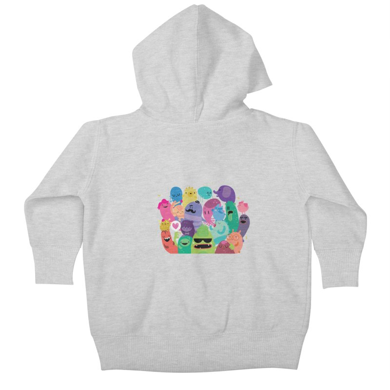 Monster reunion Kids Baby Zip-Up Hoody by Maria Jose Da Luz
