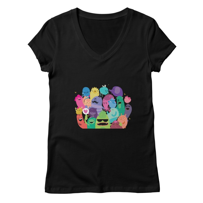 Monster reunion Women's V-Neck by Maria Jose Da Luz
