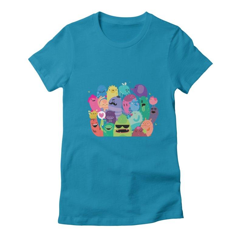Monster reunion Women's Fitted T-Shirt by Maria Jose Da Luz