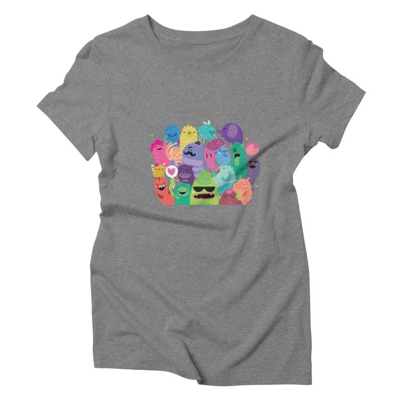 Monster reunion Women's Triblend T-Shirt by Maria Jose Da Luz