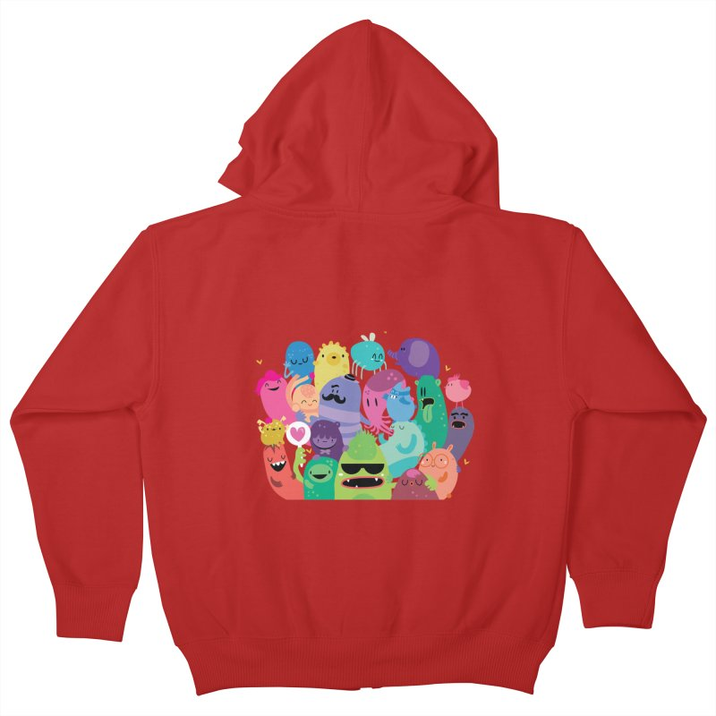 Monster reunion Kids Zip-Up Hoody by Maria Jose Da Luz
