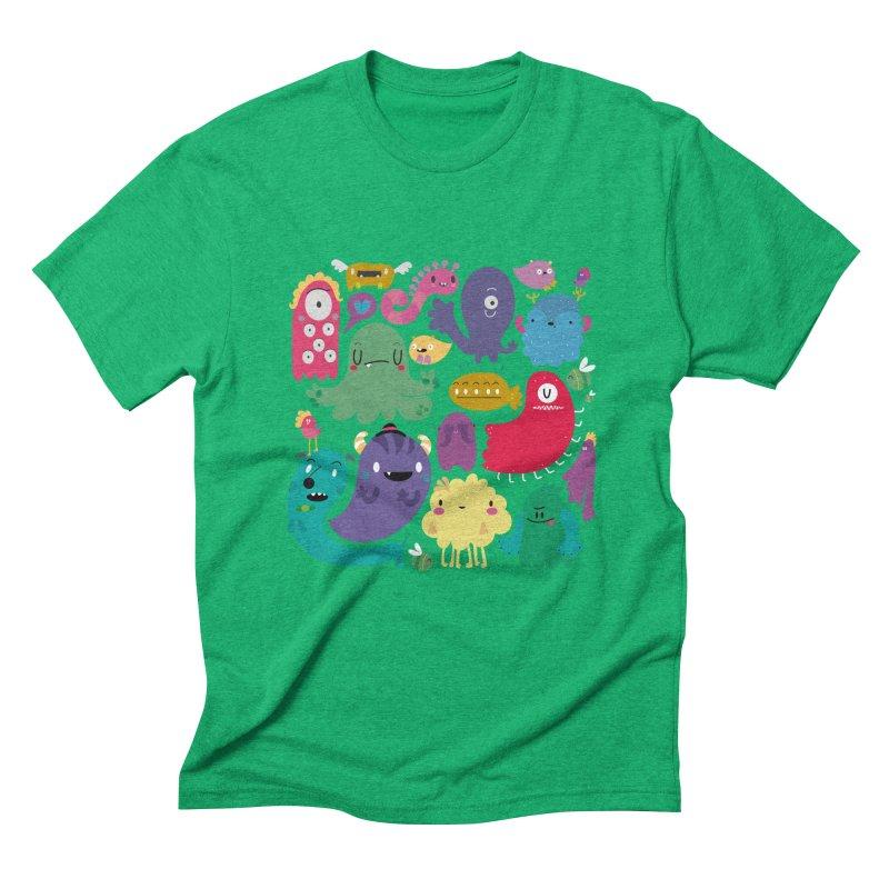 Colorful creatures Men's Triblend T-shirt by Maria Jose Da Luz