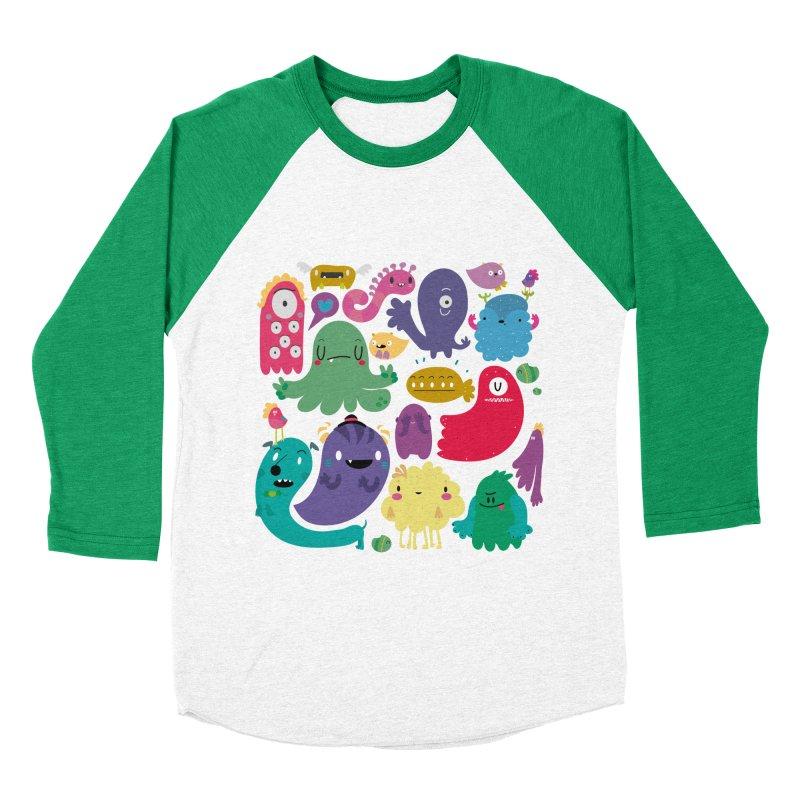 Colorful creatures Women's Baseball Triblend T-Shirt by Maria Jose Da Luz