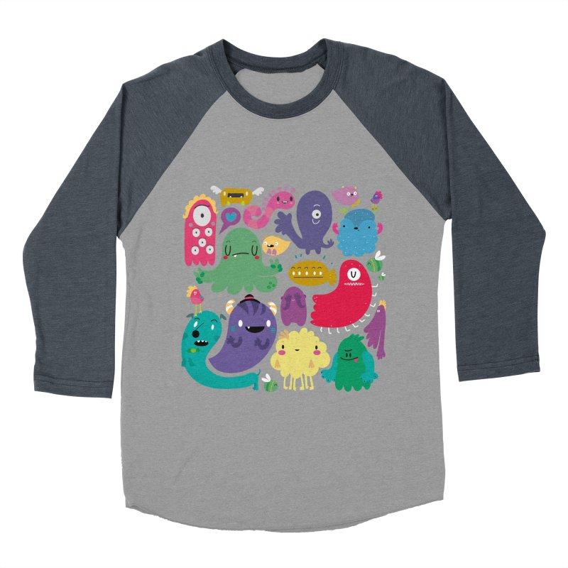 Colorful creatures Men's Baseball Triblend T-Shirt by Maria Jose Da Luz