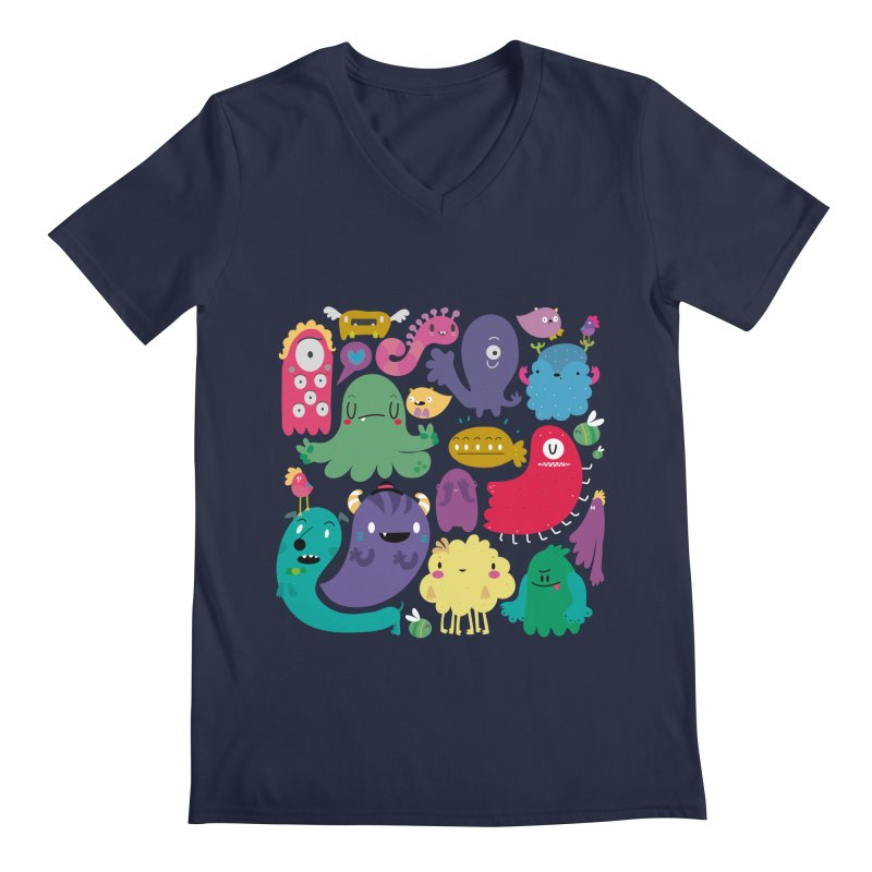 Colorful creatures Men's V-Neck by Maria Jose Da Luz