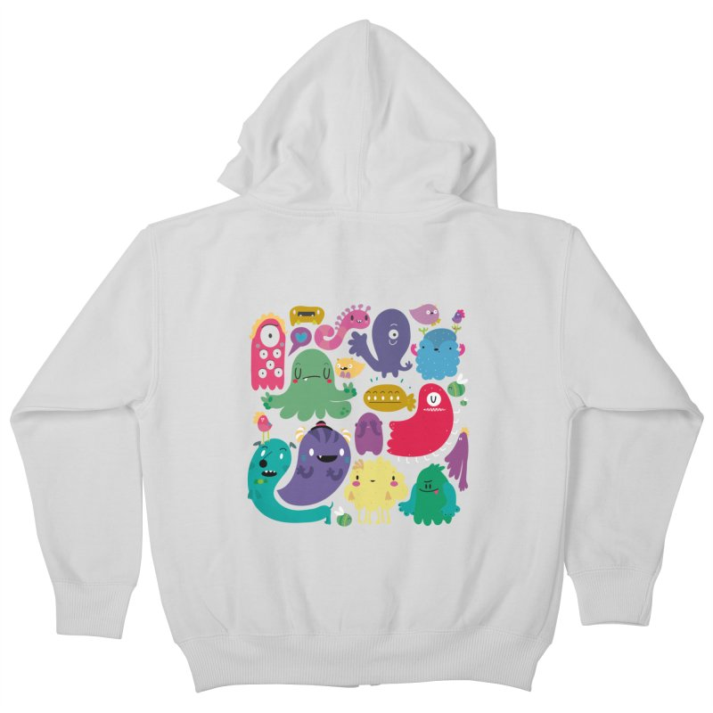 Colorful creatures Kids Zip-Up Hoody by Maria Jose Da Luz
