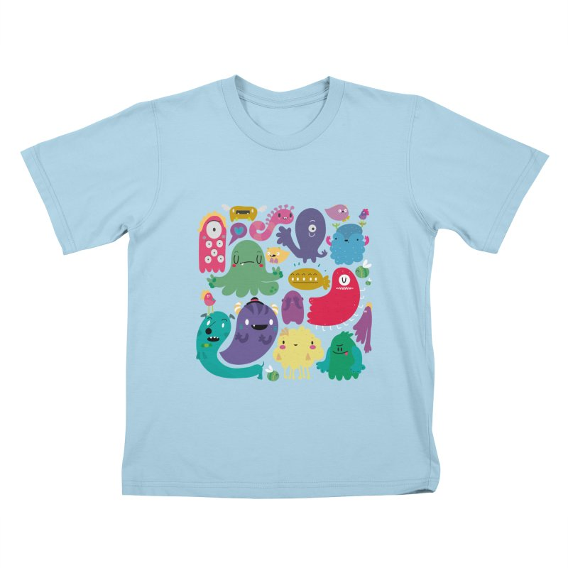 Colorful creatures in Kids T-Shirt Powder Blue by Maria Jose Da Luz