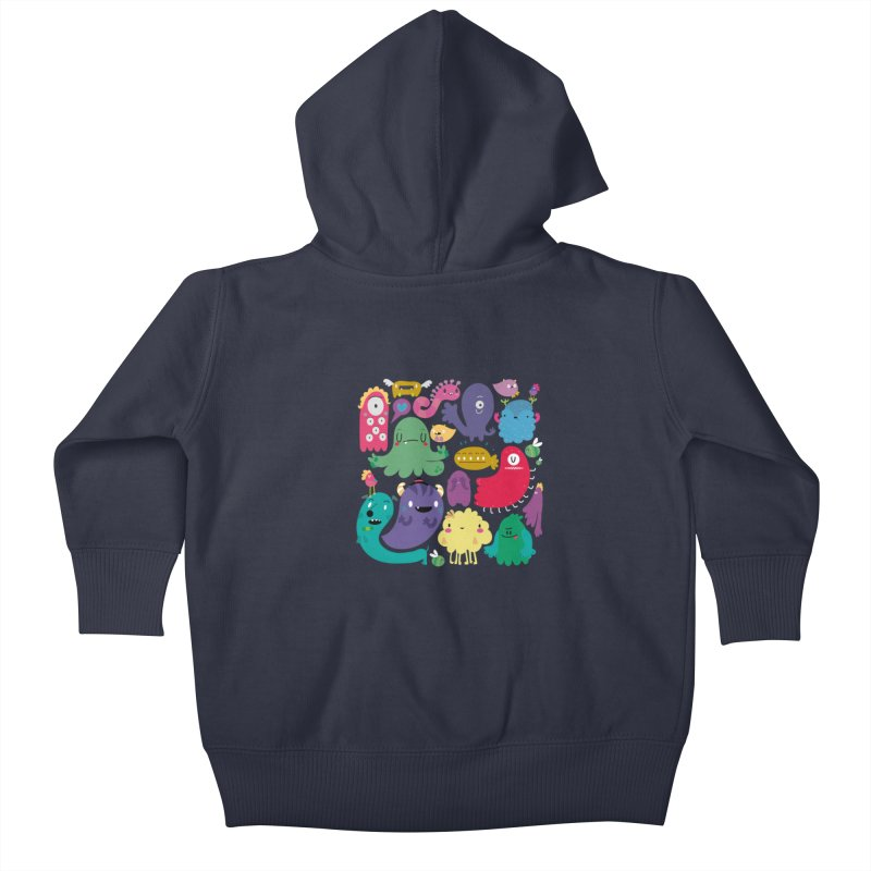 Colorful creatures Kids Baby Zip-Up Hoody by Maria Jose Da Luz