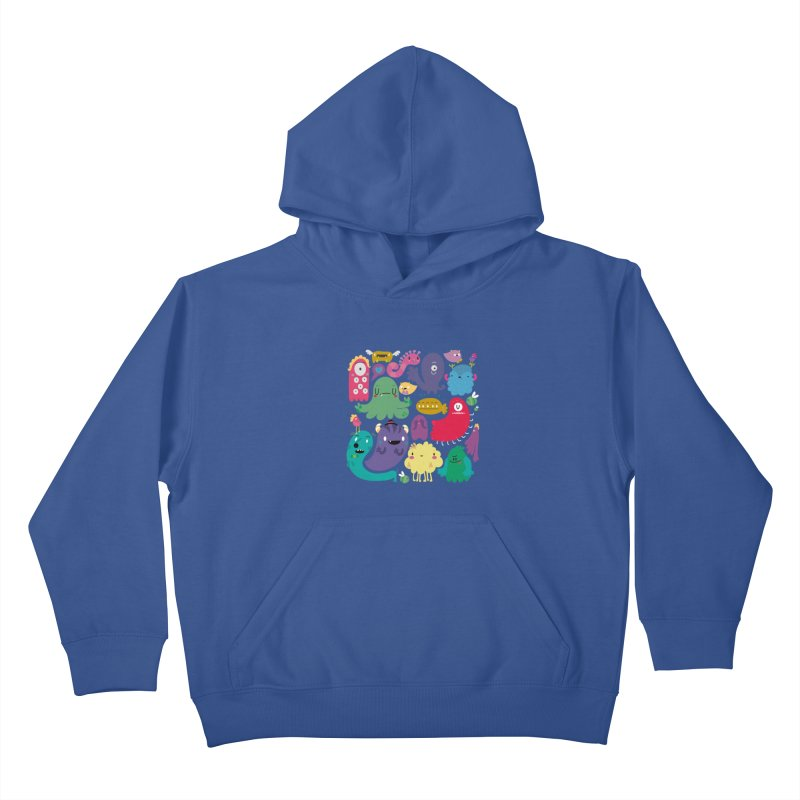 Colorful creatures Kids Pullover Hoody by Maria Jose Da Luz