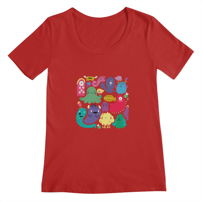 Colorful creatures Women's Scoopneck by Maria Jose Da Luz
