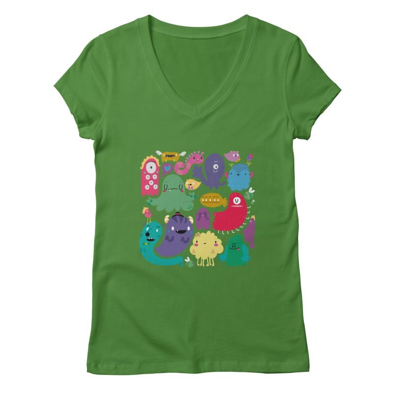 Colorful creatures Women's V-Neck by Maria Jose Da Luz