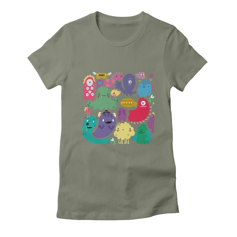 Colorful creatures Women's Fitted T-Shirt by Maria Jose Da Luz
