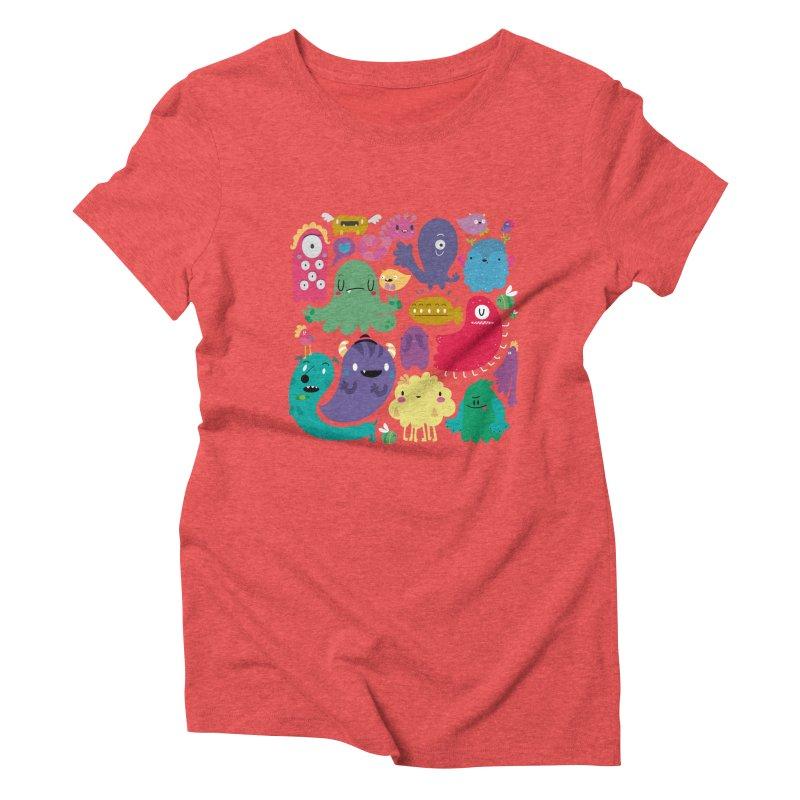 Colorful creatures Women's Triblend T-Shirt by Maria Jose Da Luz