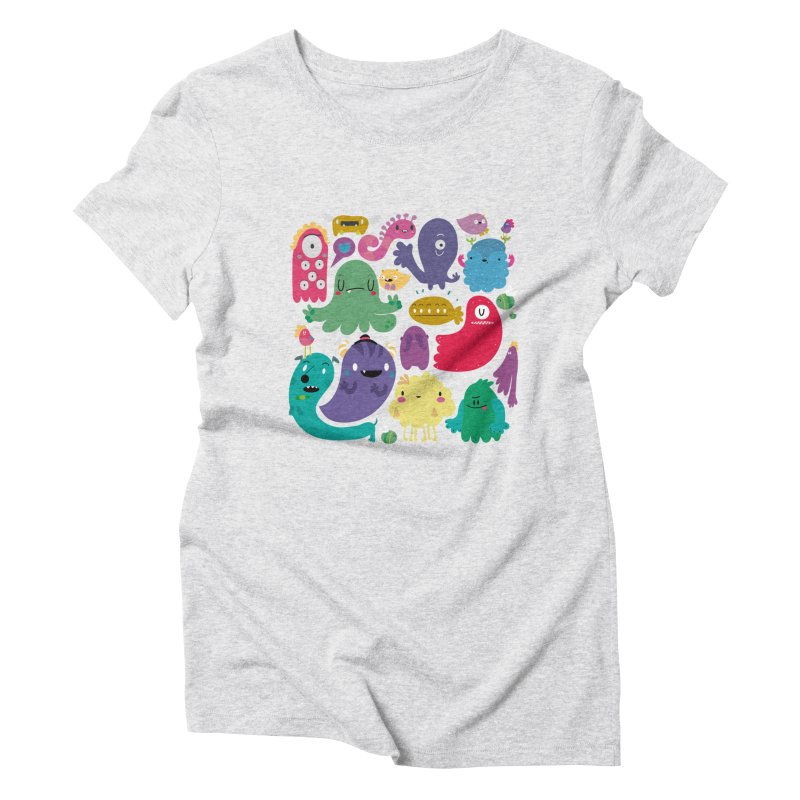 Colorful creatures Women's Triblend T-Shirt by Maria Jose Da Luz
