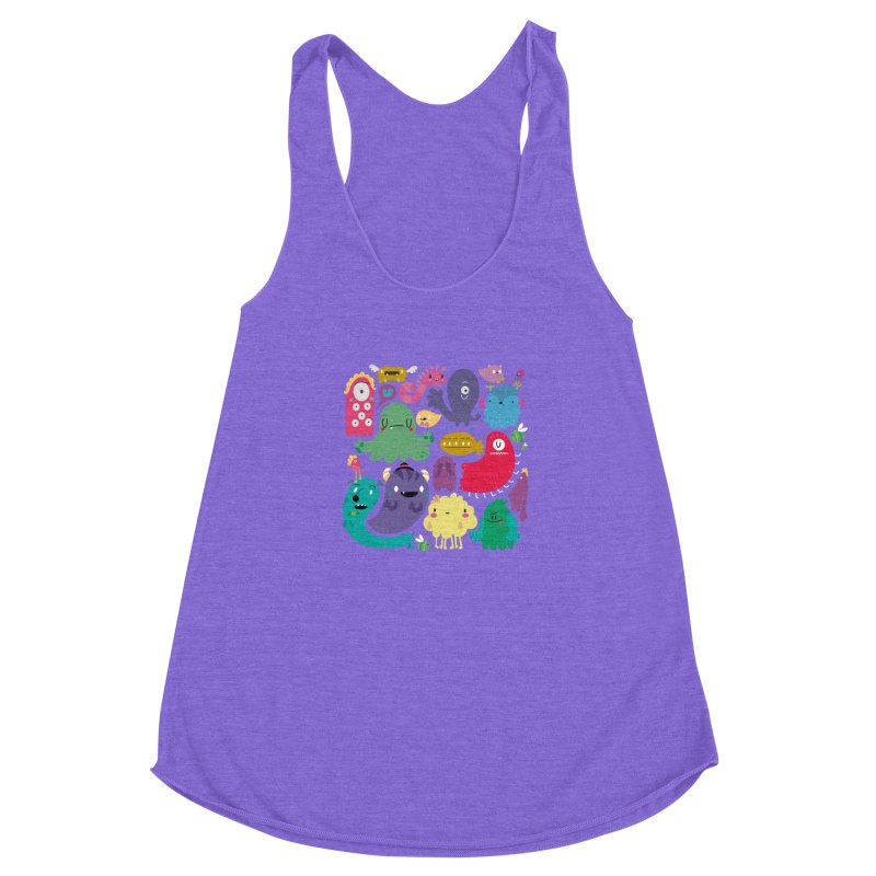 Colorful creatures Women's Racerback Triblend Tank by Maria Jose Da Luz