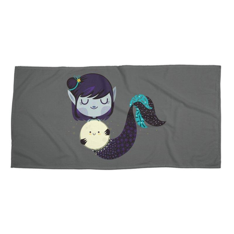 Moonlight mermaid Accessories Beach Towel by Maria Jose Da Luz