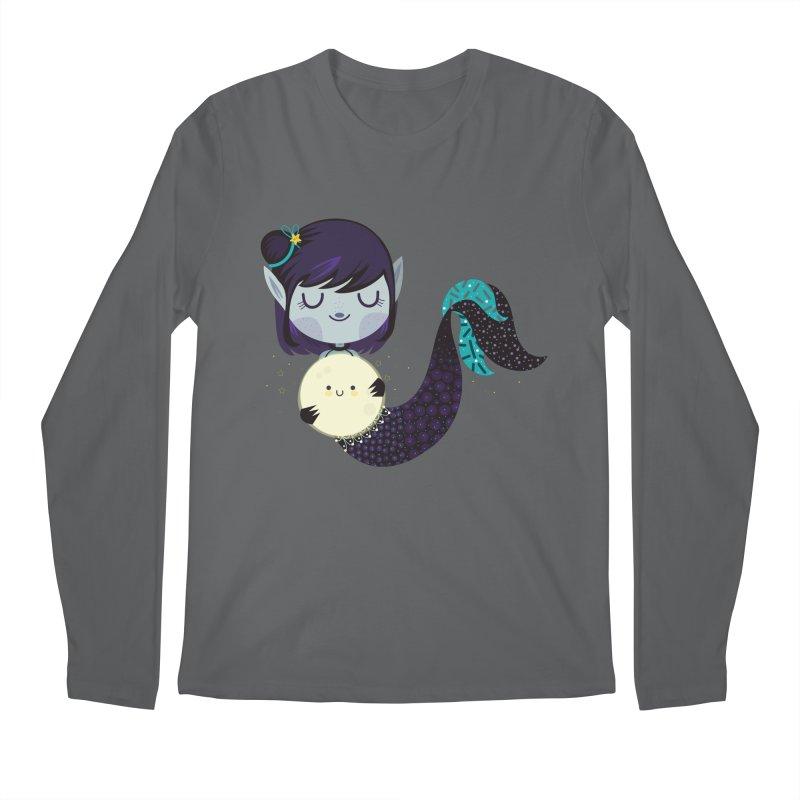 Moonlight mermaid Men's Longsleeve T-Shirt by Maria Jose Da Luz