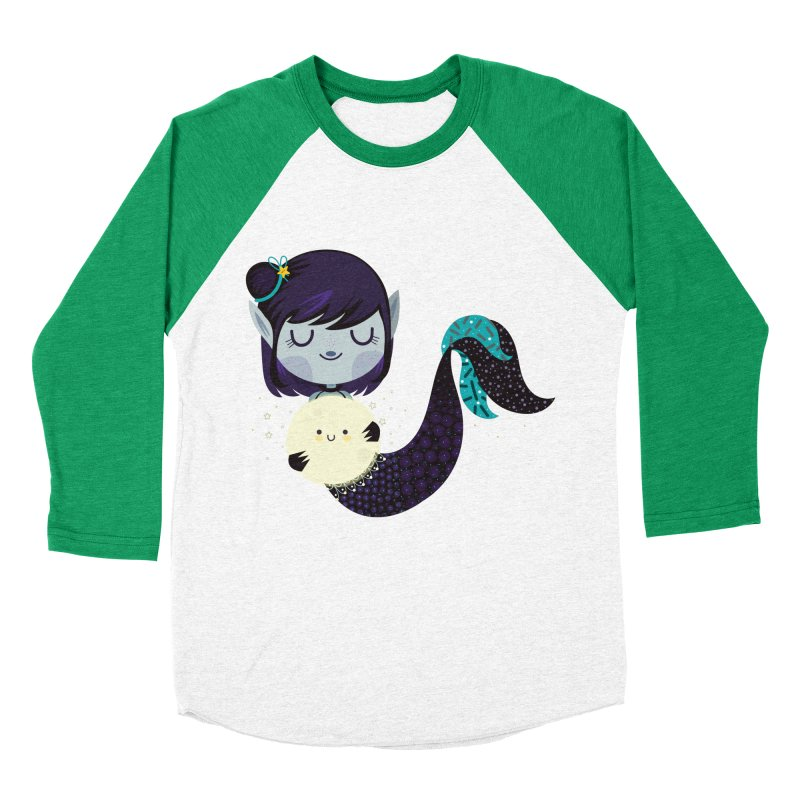 Moonlight mermaid Men's Baseball Triblend T-Shirt by Maria Jose Da Luz