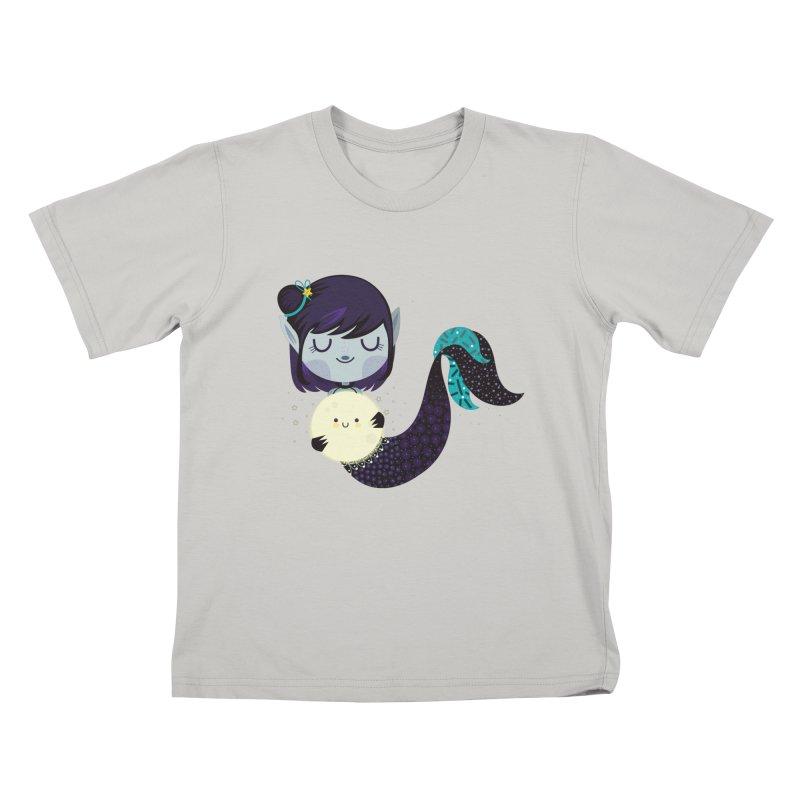 Moonlight mermaid Kids T-Shirt by Maria Jose Da Luz