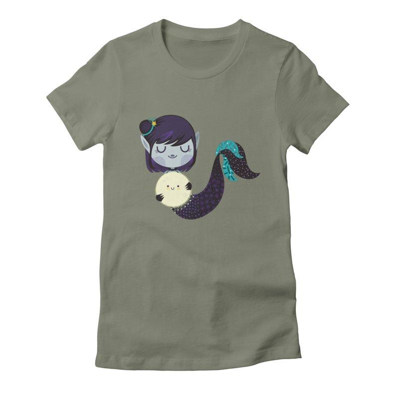 Moonlight mermaid Women's Fitted T-Shirt by Maria Jose Da Luz